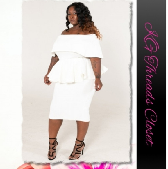 Plus Size Off The Shoulder Peplum Dress Boutique